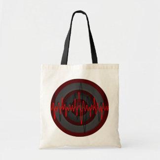 Sound Red Dark Round budget tote bag