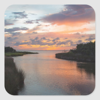 Sound Side Sunset Square Sticker