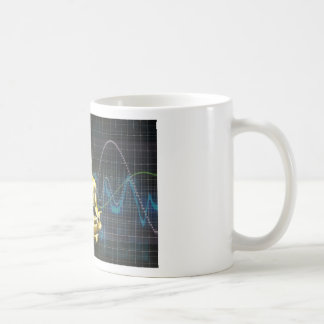 Sound System of the Future with Earphones Playing Coffee Mug