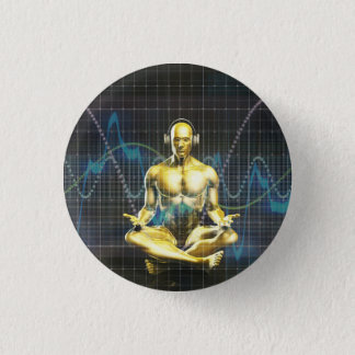 Sound System of the Future with Earphones Playing Pinback Button