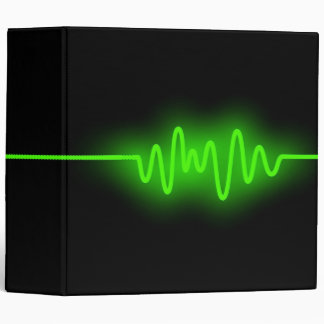 Sound Wave (2in) - Green and Black 3 Ring Binder