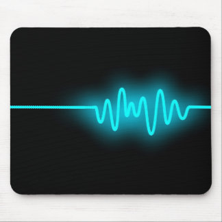 Sound Wave - Blue on Black Mouse Pad