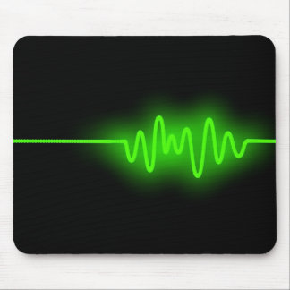 Sound Wave - Green on Black Mouse Pad