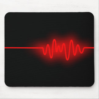 Sound Wave - Red on Black Mouse Pad