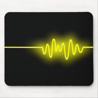 Sound Wave - Yellow on Black Mouse Pad