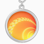 Sound Waves Fractal Art Silver Plated Necklace