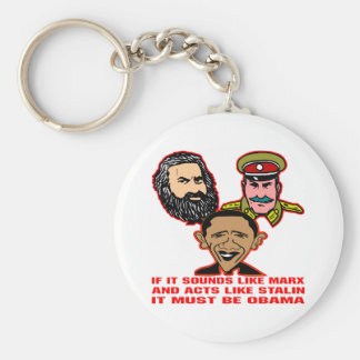 Sounds Like Marx Acts Like Stalin Must Be Obama Basic Round Button Keychain