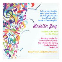 "SOUNDS OF THE TORAH Bat Bar Mitzvah Invitation 5.25"" Square Invitation Card"