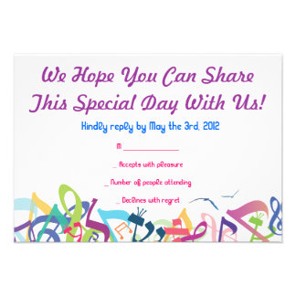 SOUNDS OF THE TORAH Bat Bar Mitzvah Reply Card Personalized Announcement