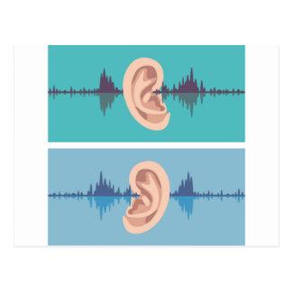 Soundwave through the human ear postcard