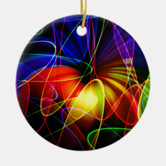 Soundwaves Neon Fractal Double-Sided Ceramic Round Christmas Ornament
