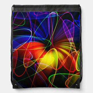 Soundwaves Neon Fractal Drawstring Backpack