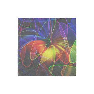 Soundwaves Neon Fractal Stone Magnet