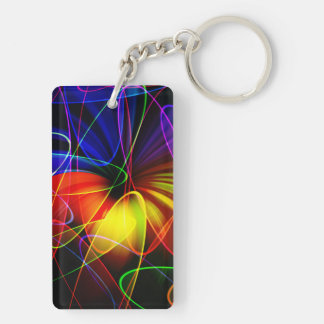 Soundwaves Neon Fractal Keychain