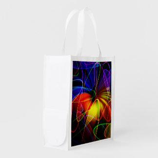 Soundwaves Neon Fractal Reusable Grocery Bag