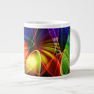 Soundwaves Neon Fractal Jumbo Mug