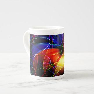 Soundwaves Neon Fractal Bone China Mug