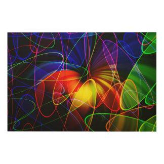 Soundwaves Neon Fractal Wood Wall Art