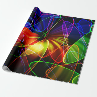 Soundwaves Neon Fractal Wrapping Paper