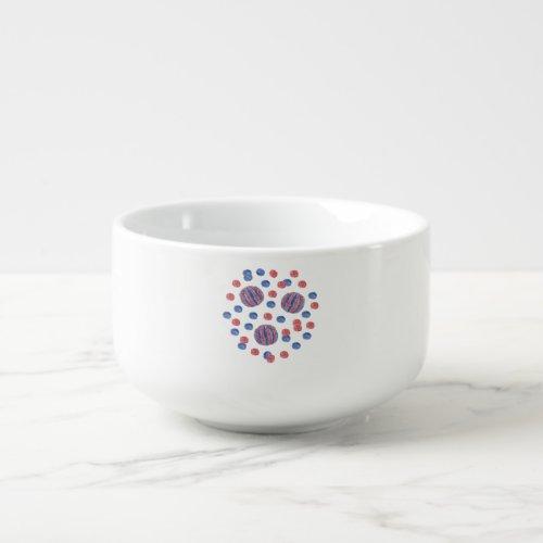 Soup mug with red-blue balls