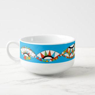 soup mug with southwestern colour graphic design