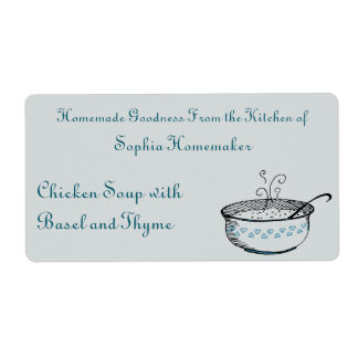 Soup Tureen with Cerulean Heart Accents Food Label