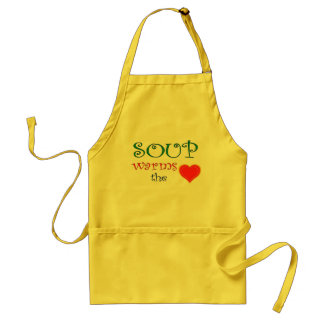 Soup Warms the Heart Adult Apron