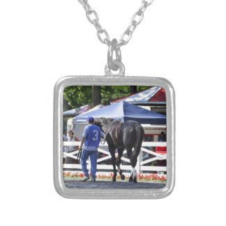 """Souper Speedy"" The James Marvin Stakes Silver Plated Necklace"