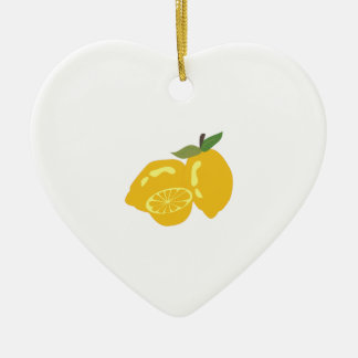 Sour Citrus Double-Sided Heart Ceramic Christmas Ornament