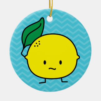 Sour Lemon Double-Sided Ceramic Round Christmas Ornament