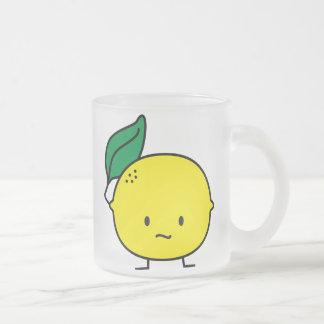 Sour yellow lemon leaf citrus fruit lemony frosted glass coffee mug