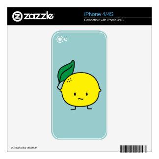 Sour yellow lemon leaf citrus fruit lemony iPhone 4S decal