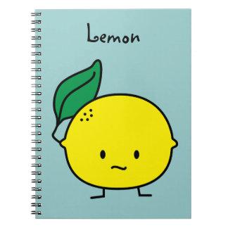 Sour yellow lemon leaf citrus fruit lemony notebook