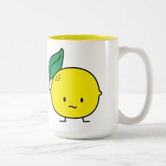 Sour yellow lemon leaf citrus fruit lemony Two-Tone coffee mug