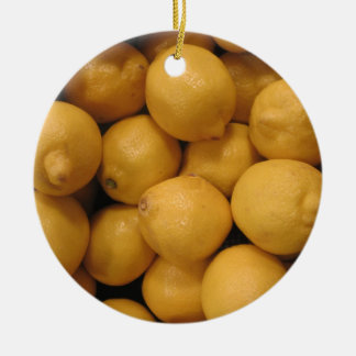 Sour Yellow Lemons Double-Sided Ceramic Round Christmas Ornament