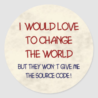source code classic round sticker