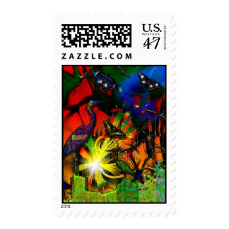Source Code Heron Butterfly Abstract Postage