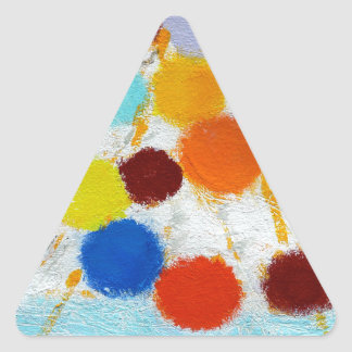 Sourcing - A abstract painting by Susan Richter Triangle Sticker