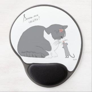 Souris embrasse un chat gel mouse pad
