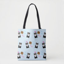 Sourpuss Power Cat Cartoon Pattern Tote Bag