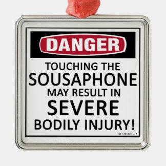 Sousaphone del peligro adorno navideño cuadrado de metal