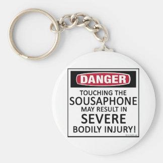 Sousaphone del peligro llavero redondo tipo pin