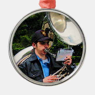 Sousaphone Round Metal Christmas Ornament