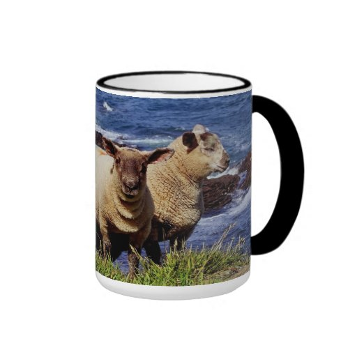Sout Devon Two Lambs On Cliff Edge On Coast Path Ringer Mug
