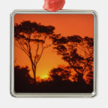 South Africa.  African sunset. Square Metal Christmas Ornament