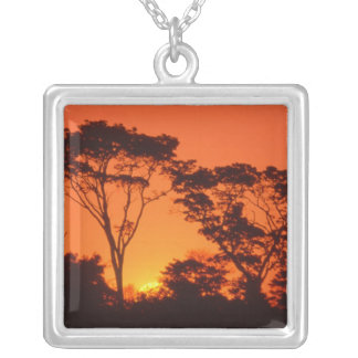 South Africa.  African sunset. Square Pendant Necklace