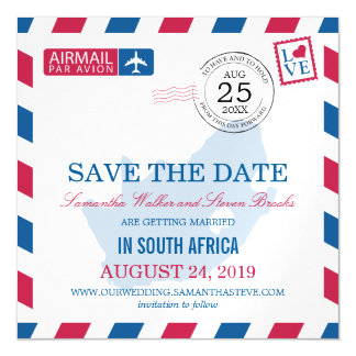 South Africa Airmail Save the Date Magnetic Card