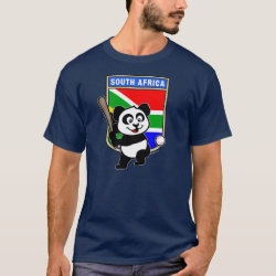 Men's Basic Dark T-Shirt with South Africa Baseball Panda design