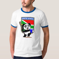 Men's Basic Ringer T-Shirt with South Africa Baseball Panda design