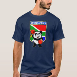 Men's Basic Dark T-Shirt with South Africa Boxing Panda design